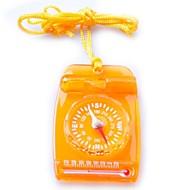 3119 Mini Multi 3-in-1 Transparant Compass / Thermonmeter / Whistle-Oranje