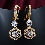 Fashion Zircon Inlay Gold Plated Drop Earrings
