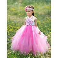 Ball Gown Floor-length Flower Girl Dress - Silk/Tulle Sleeveless