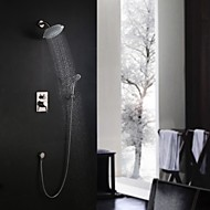 Contemporary Wall Mounted Rain Shower / Handshower Included with  Ceramic Valve Single Handle Three Holes for  Nickel Brushed , Shower