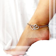 Shixin® Classic Double Heart Pattern Alloy Anklet(Golden,Silver)(1 Pc) Jewelry