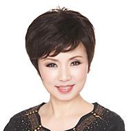 10 Inch European Style kort krullend zwart Human Hair Pruiken side bang