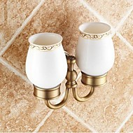 "Toothbrush Holder Antique Brass Wall Mounted 160 x 165mm (6.29 x 6.49"") Brass / Ceramic Traditional"