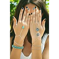 shixin® arbeiten Sie handgemachter blauer Türkis-Legierung Bettelarmband (golden, Silber, Bronze) (1 Stück)