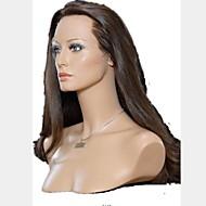 18inch Bedste kvalitet Silky Straight Dark Brown Remy Hair Lace Front Wig Tilbage Stretch Fås i flere farver