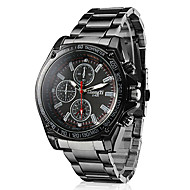 Men's Racing Style Dress Watch Black Alloy Quartz Wrist Watch Cool Watch Unique Watch Fashion Watch