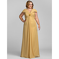 TS Couture® Formal Evening / Prom / Military Ball Dress - Gold Plus Sizes / Petite Sheath/Column V-neck Floor-length Chiffon