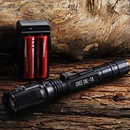 פנס LED / פנסי יד LED 400 Lumens 1 מצב Cree XR-E Q5 18650 / AA מיקוד מתכוונןמחנאות/צעידות/טיולי מערות / שימוש יומיומי / רכיבה על אופניים