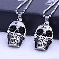 Personlig gave Skull Figurer rustfrit stål smykker graveres vedhæng halskæde med 60cm kæde
