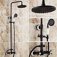 Antique Tub And Shower Rain Shower Handshower Included with  Ceramic Valve Two Handles Three Holes for  Oil-rubbed Bronze , Shower Faucet