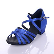 Non Customizable Women's/Kids' Dance Shoes Latin/Performance Satin Chunky Heel Black/Blue