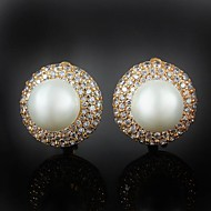 Huggie Earrings Women's Brass Earring Imitation Pearl