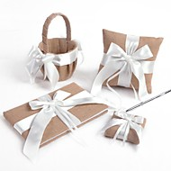 White Cross Bow Linen Wedding Collection Set (4 stk)