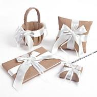 White Cross Bow Linen Wedding Collection Set (4 pezzi)