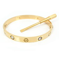 Women's Bangles Basic Unique Design Fashion Stainless Steel Gold Plated Imitation Diamond Circle Jewelry Silver Rose Golden Jewelry For