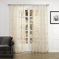 (Two Panels) Elegant Country Floral Arabesque Sheer Curtain