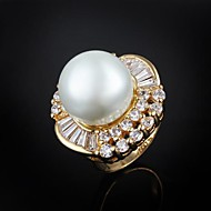 Elegant Gold Plated with Big Pearl Men's Ring(More Colors)