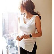 Frauen sexy V-Ausschnitt ärmel Split Side Bodycon T-Shirt/Oberseiten