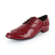 Non Customizable Men's Dance Shoes Modern Leatherette Chunky Heel Red