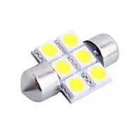 31mm 1.2W 100lm 6000K 6x5050 SMD Vit LED för bil Läsa / registreringsskylt / Dörr lampa (DC12V, 1Pcs)