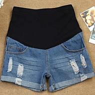 Agujeros de Verano de la maternidad jeans desgastados pantalones cortos mujeres embarazadas tinta pintura abdominal Denim pantalones cortos