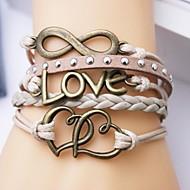 eruner®leather armband flerskiktade legering kärlek och hjärta oändlig handgjorda armband