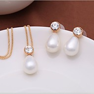 Women's Fashion Alloy Gold/Rhodium-Plated and Shell Pearl Jewelry Set Decorated in Czech Stones (1 Pc)