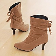 Women's Shoes Pointed Toe Cone Heel Flocking Ankle Boots with Bowknot More Colors available