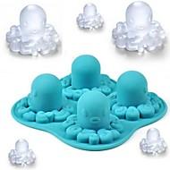 """Polvo dos desenhos animados Padrão Ice Mould silicone dos cubos de gelo (cor aleatória), Silicone 5.2 """"x5.2"""" x1.56 """""""