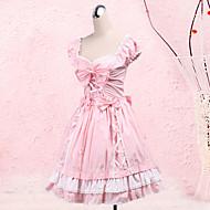 Low-cut Puff Sleeve Knee-length Pink Cotton Sweet Lolita Dress