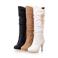 Kozačky - Koženka - Módní boty - Dámská obuv - Černá / Bílá / Béžová - Šaty - Vysoký