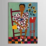 iarts®hand gerilmiş çerçeve ile sandalyede boyalı yağlıboya insanlar kadın
