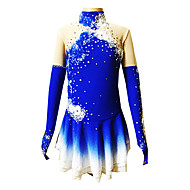 Ice Skating Dress Women's / Girl's Long Sleeve Skating Skirts & Dresses Figure Skating Dress Breathable / Stretch Spandex BlueSkating
