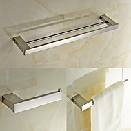 Contemporary Quadrate Stainless Steel 3 Piece Bathroom Accessories Set