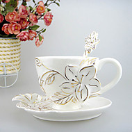 גביע רומנטי עדין פרחוני לבן קרמיקה, סט 3 (גביע, כפית, צלחת)