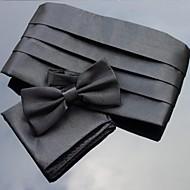 xinclubna® mäns bröllopsfest polyester bowties med matchande cummerbund& näsduk (10 färger)