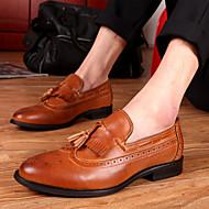 מוקסינים גברים של נעליים משרד ועבודה / קז'ואל עור שחור / לבן / כתום