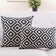 sada 2 černé a bílé kostkované bavlny / lnu dekorační povlak na polštář