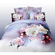 전체 shuian® 이불 커버 세트, 4 벌의 양복의 편안함 간단한 현대 환기가 인쇄 된 3d 꽃 패턴