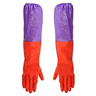 Waterproof Cleaning Rubber  Cotton Two Section Sleeve Gloves  Pair