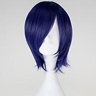 Pelucas de Cosplay Tokyo Ghoul Kirishima Touka Azul Corto Animé Pelucas de Cosplay 32 CM Fibra resistente al calor Mujer