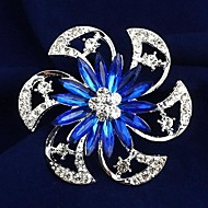 Women's Fashion Cool Flower Shape Multicolor Alloy Rhinestone Brooches