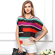 Women's Summer Loose Colorful Stripe Short Sleeve Chiffon T-Shirt