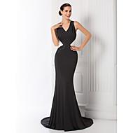 Formal Evening / Prom / Military Ball Dress - Black Plus Sizes / Petite Trumpet/Mermaid V-neck Court Train Jersey