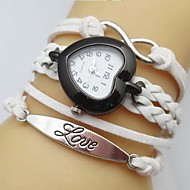 Women's Heart-Shaped Dial Love Infinity Leather Weave Band Quartz Analog Bracelet  Watch(Assorted Colors) Cool Watches Unique Watches