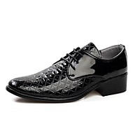 Men's Spring Summer Fall Winter Patent Leather Office & Career Casual Party & Evening Chunky Heel Lace-up Black White