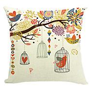 fågel parti bomull / linne dekorativa örngott