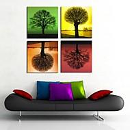 arte de la lona cuatro estaciones Conjunto del árbol de la pintura decorativa estirada de 4