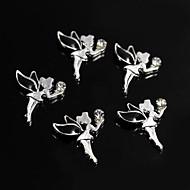 10st zwarte lichtmetalen strass feeengel 3d legering nail art decoratie