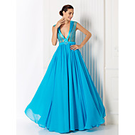 Formal Evening/Prom/Military Ball Dress - Pool Plus Sizes A-line V-neck Floor-length Chiffon